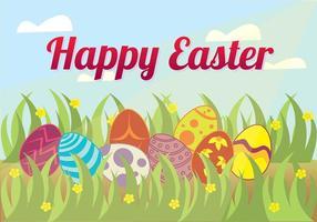 Caccia dell'uovo di Pasqua nel vettore del fondo dell'erba