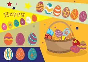 Manifesto funky dell'uovo di Pasqua con il vettore del canestro