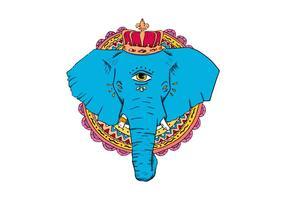 Elefante blu disegnato a mano con il vettore della corona