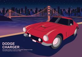 Automobile rossa del caricatore di Dodge all'illustrazione di vettore delle luci della città