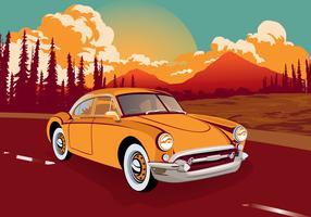 Automobile classica d'annata attraverso l'illustrazione di vettore della strada