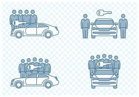 icone di car sharing vettore