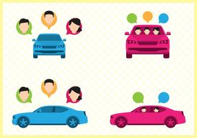 Set di illustrazione di car sharing vettore