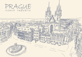 Vettori di Praga disegnati a mano gratis