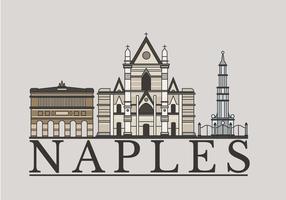 Illustrazione lineare di vettore del punto di riferimento di Napoli