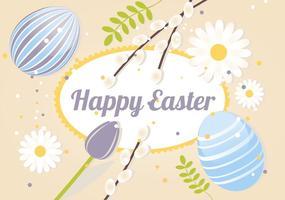 illustrazione vettoriale di Pasqua felice primavera libera