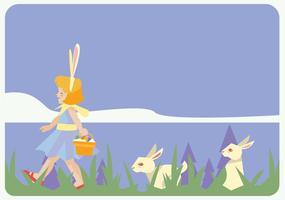 vettore della ragazza del piccolo cacciatore dell'uovo di Pasqua
