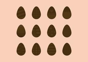 Set di uova pasquali al cioccolato vettore