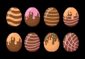 Vettore delle icone delle uova di Pasqua del cioccolato