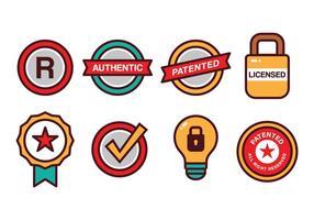 Set di icone di brevetto e copyright