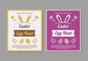 Manifesti viola e gialli di caccia dell'uovo di Pasqua