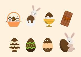 Vettori di cioccolato piatto di Pasqua