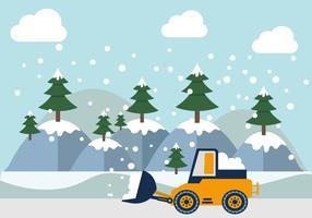 Illustrazione montagnosa di vettori dell'aratro di neve