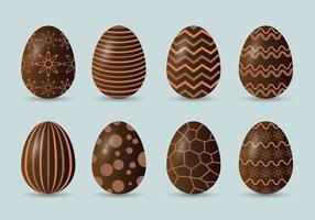 Set di icone di uova di Pasqua al cioccolato
