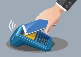 Uomo che paga con la tecnologia NFC sul cellulare vettore