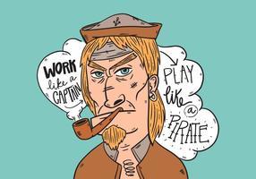 Tubo di fumo del marinaio del personaggio anziano del personaggio dei cartoni animati con iscrizione vettore