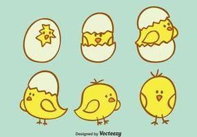 Vettore sveglio sveglio del pulcino di Pasqua disegnato a mano