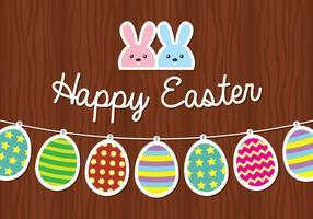 coniglietto di Pasqua e sfondo di uovo vettore