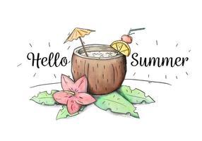 Bevanda sveglia della noce di cocco del cocktail con l'ombrello e le foglie all'estate