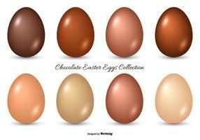 Collezione di uova pasquali al cioccolato vettore