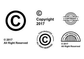 Insieme di vettore di simbolo di copyright piatto