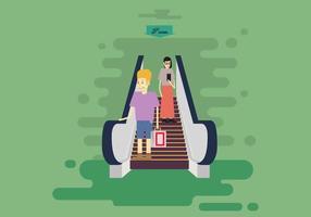 Giù scale mobili con illustrazione di uomo e donna