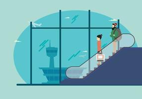 Uomo e donna sulla scala mobile nell'illustrazione dell'aeroporto