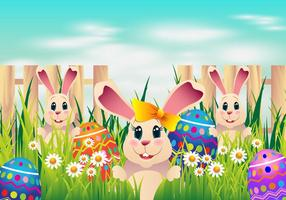 Caccia all'uovo di Pasqua con uova da colorare e coniglio carino