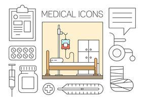 Icone mediche gratis impostate nel vettore di disegno minimo