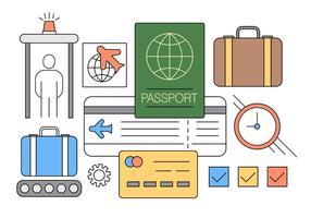 Set di icone di viaggio aereo in stile linea sottile