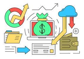 Set vettoriale gratuito di icone di affari e finanza