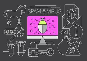 Elementi vettoriali gratis di spam e virus
