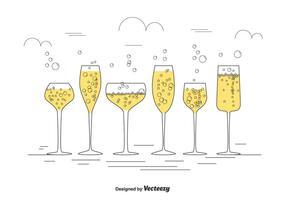 Insieme di vettore di Champagne Glasses