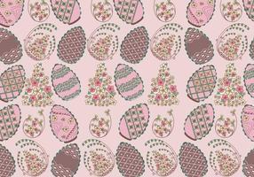 Vettore floreale del modello delle uova di Pasqua del cioccolato