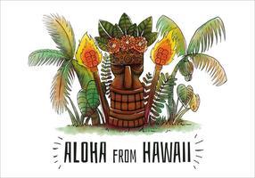 Scena carina spiaggia tropicale con hawaiano statua Tiki e palme vettore