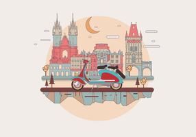 Lambretta d'annata in un vettore europeo della città