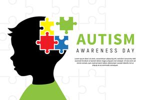 Poster per bambini di consapevolezza dell'autismo vettore