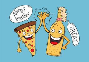 Mano divertente del carattere cinque degli amici della birra e della pizza divertente vettore