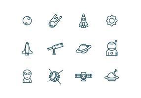 Icone di astronomia in stile contorno