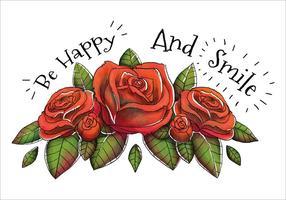 Carino bouquet di rose rosse e citazione felice vettore