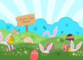Sfondo di caccia alle uova di Pasqua vettore