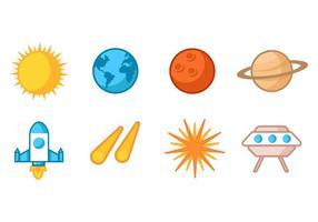 Vettore gratuito collezione di icone di astronomia