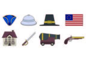 Set di icone coloniali americane vettore