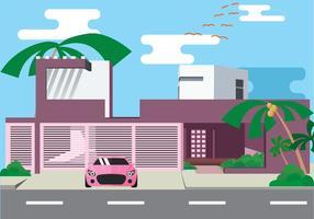 Esotico Palm Fancy House vettoriale