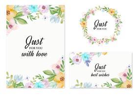 Carte di invito vettoriale con fiori ad acquerelli