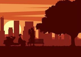 Vettore libero di tramonto del motorino delle coppie
