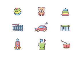 Icone di giocattoli colorati