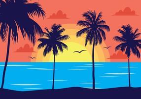 Paesaggio tropicale al tramonto vettore