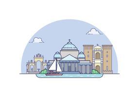 Paesaggio di Napoli vettore