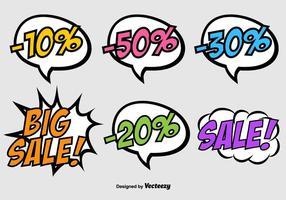 Vector Speech Bubbles su stile Pop Art - banner di sconto